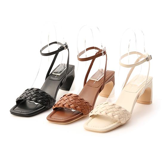 D+AF一字編織繫踝扁跟涼鞋