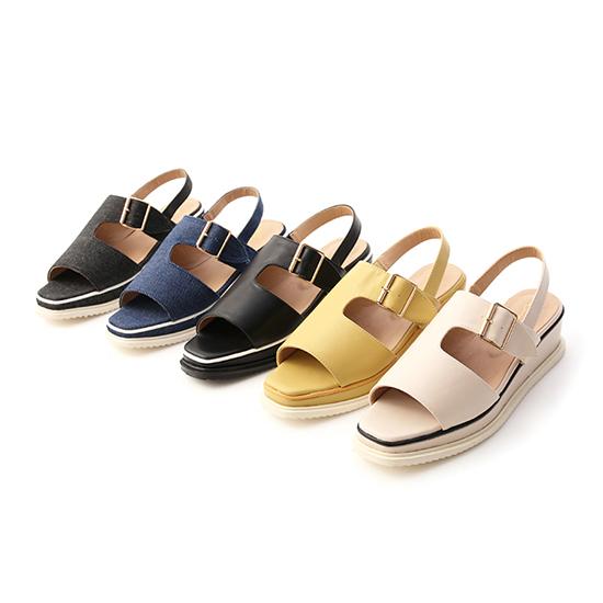 D+AF 拇指外翻涼鞋特輯 寬版皮革涼鞋 單寧牛仔藍涼鞋 金屬釦環涼鞋