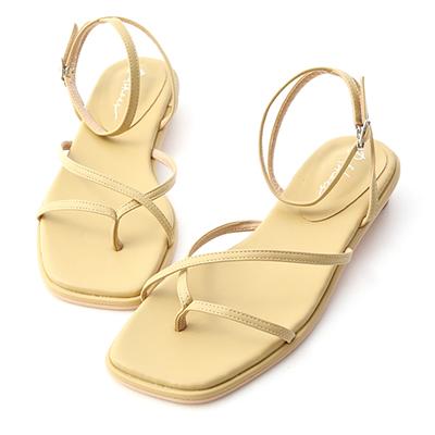 細帶夾腳小圓跟涼鞋 涼鞋