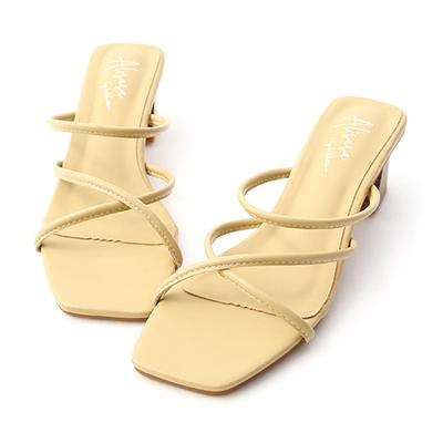 交叉細帶木紋跟涼拖鞋 奶油黃涼拖鞋