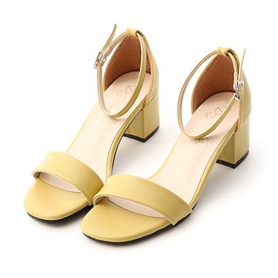 MIT一字方頭中跟涼鞋 奶油黃涼鞋