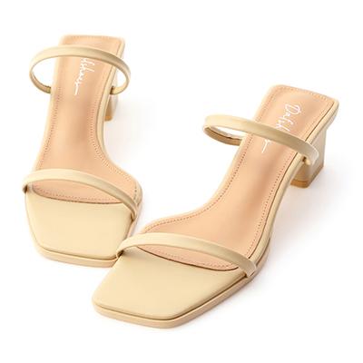 一字帶方頭中跟涼鞋 奶油黃涼鞋推薦