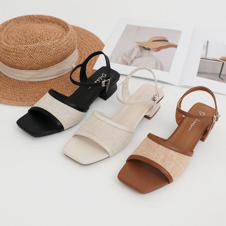D+AF 夏日時髦好穿有型涼鞋 南法風情 拼接涼鞋 亞麻拼接涼鞋