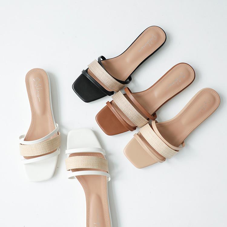 D+AF 夏日時髦好穿有型涼鞋 輕夏微風 草編涼鞋 方頭拖鞋