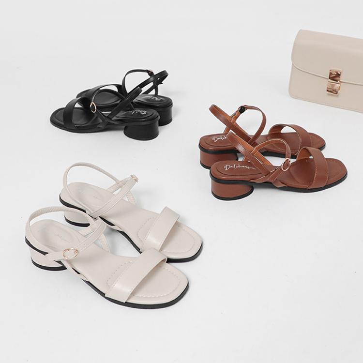D+AF 夏日時髦好穿有型涼鞋 韓國同步 橢圓跟涼鞋 一字繫踝涼鞋