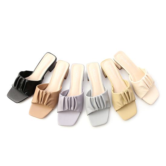 雲朵抓皺低跟涼拖鞋 一字涼拖鞋推薦 拖鞋 8色