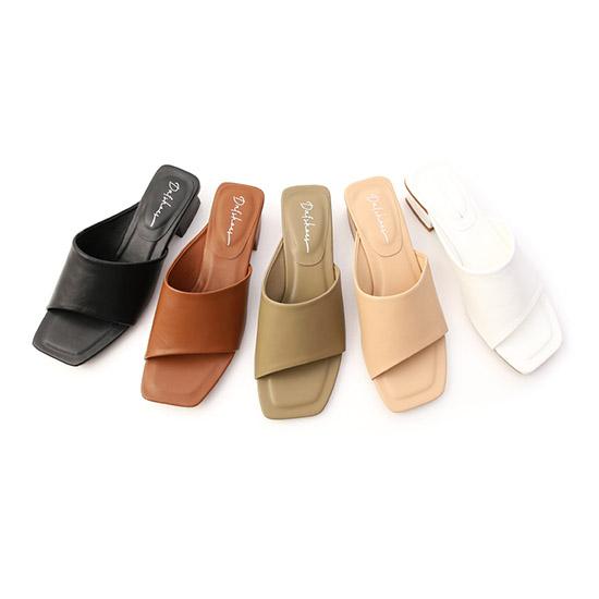 斜切設計方頭低跟拖鞋 一字涼拖鞋推薦 拖鞋