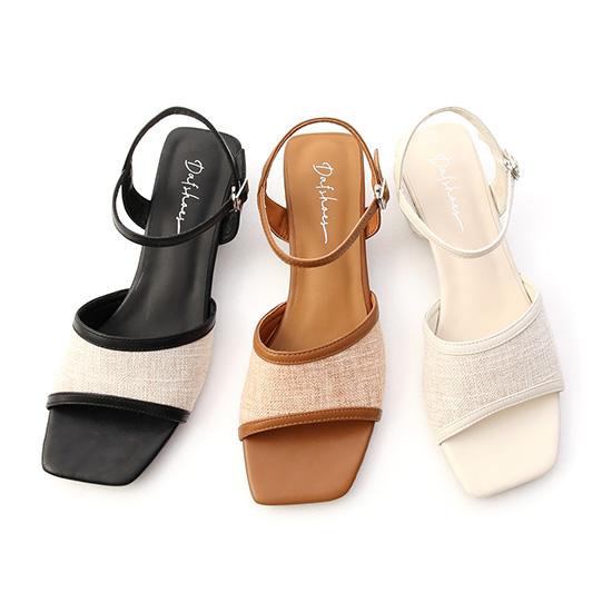 亞麻布拼接低跟涼鞋 方頭涼鞋 涼鞋推薦