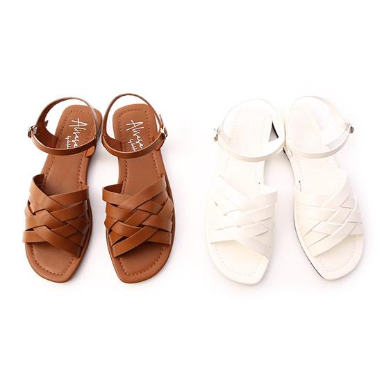 多層次平底編織涼鞋 方頭涼鞋 涼鞋推薦 編織涼鞋 愛莉莎莎