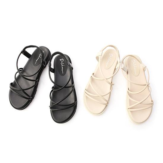 交叉帶加厚底羅馬涼鞋 圓頭涼鞋 條帶涼鞋推薦