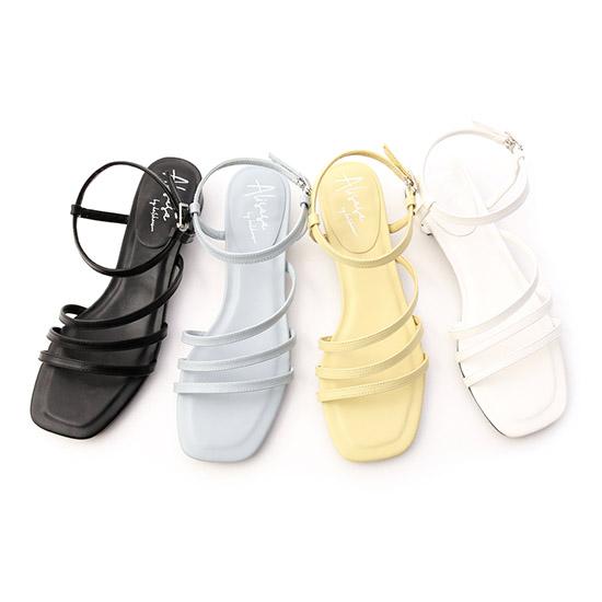 層次三條細帶低跟涼鞋 方頭涼鞋 涼鞋推薦  愛莉莎莎