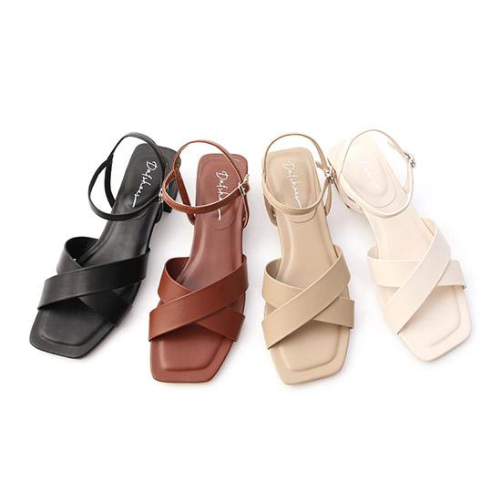 寬版交叉方頭低跟涼鞋 方頭涼鞋 涼鞋推薦