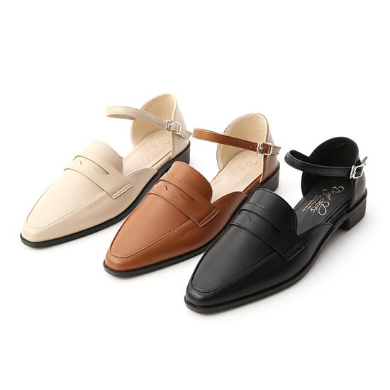 D+AF微尖頭踝繫帶樂福鞋