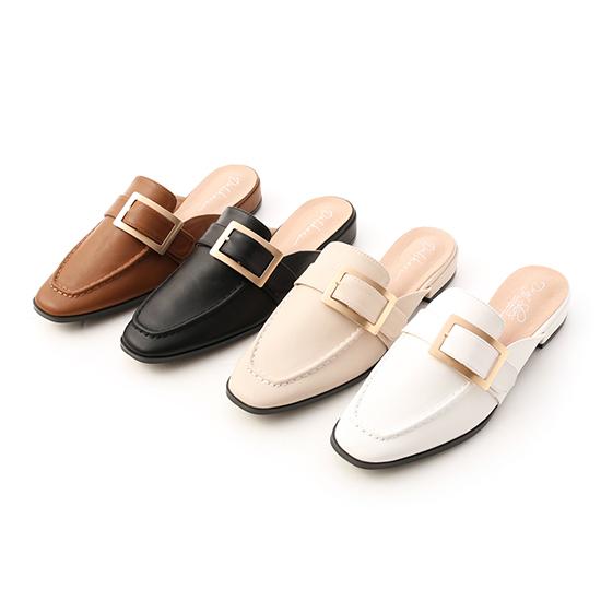 D+AF質感大方釦低跟穆勒鞋