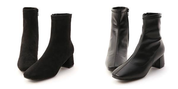秋冬定番.素面合腿中跟方頭襪靴 黑色襪靴推薦
