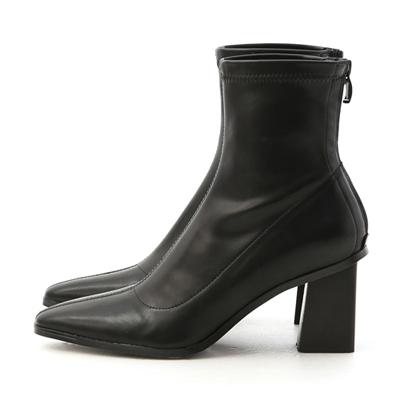 時尚韓風.素面車線黑木根襪靴 黑色高跟襪靴