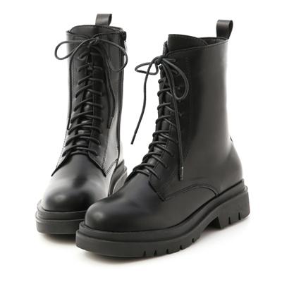 酷帥有型.鬆糕底綁帶中筒馬汀靴 黑色綁帶靴 黑色馬丁靴