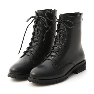 俐落酷感.後拉鍊綁帶中筒馬汀靴 黑色綁帶靴 黑色馬丁靴推薦
