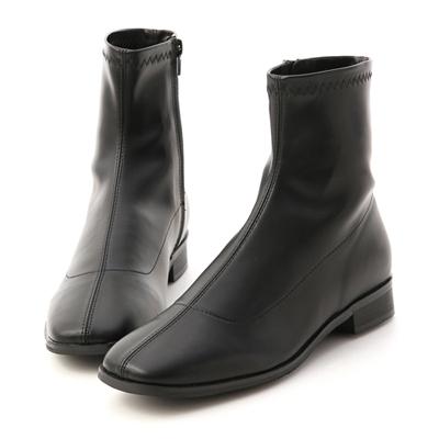 定番焦點.中車線方頭低跟襪靴 黑色低跟短靴(襪靴)推薦
