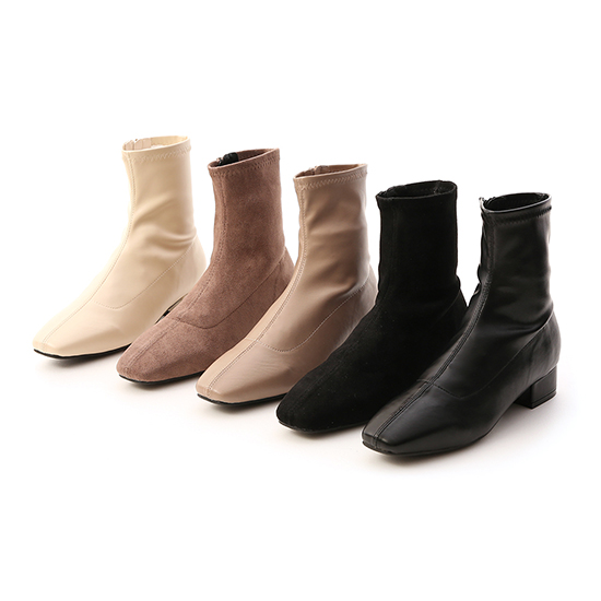 素面車線方頭低跟襪靴 短靴