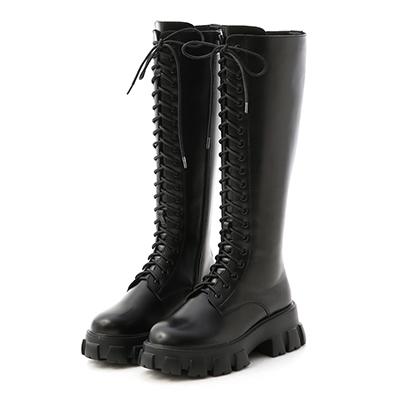 鋸齒底綁帶馬汀長靴 長靴  膝下靴