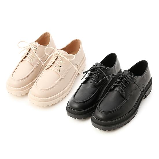 鬆糕底綁帶牛津鞋推薦 米色 黑色