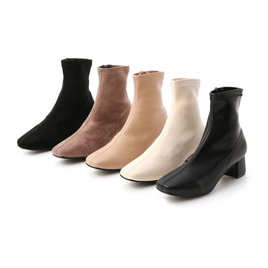 素面合腿中跟方頭襪靴推薦 五色可選