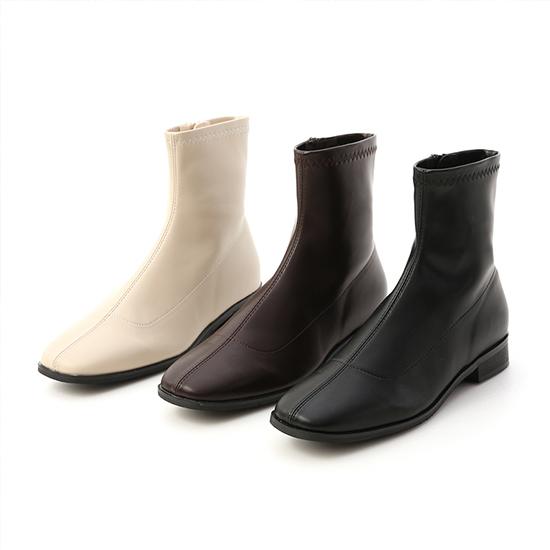 中車線方頭低跟襪靴 短靴推薦 黑色 咖啡色 米白色