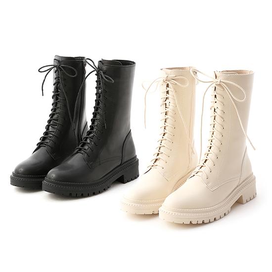 厚底綁帶中筒馬汀靴 黑色 米白色綁帶靴推薦