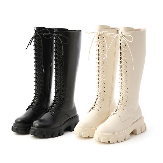 鋸齒底綁帶馬汀長靴 長靴推薦 黑色 白色
