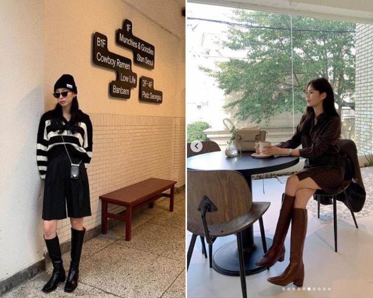 2021女鞋推薦 韓國穿搭 D+AF方頭長靴 @from_minju高跟靴穿搭