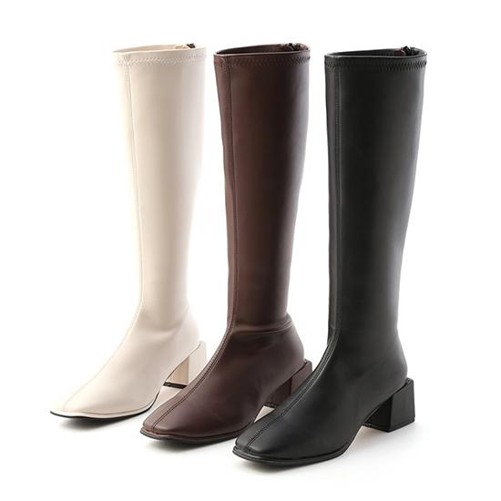 素面方頭積木跟長靴推薦 黑色 咖啡色 白色長靴